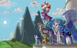 Size: 4800x3000   Tagged: safe, artist:valcron, applejack, fluttershy, pinkie pie, princess celestia, princess luna, rainbow dash, rarity, spike, twilight sparkle, alicorn, dragon, earth pony, pegasus, pony, unicorn, absurd resolution, artifact, backwards cutie mark, balloon, cloud, cloudsdale, crossed arms, cute, ethereal mane, female, floating, flying, frown, grin, happy, lidded eyes, mane seven, mane six, mare, mountain, mountain range, open mouth, peak, rainbow, s1 luna, smiling, smirk, spread wings, sun, then watch her balloons lift her up to the sky, unicorn twilight, wallpaper