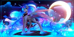 Size: 3000x1500 | Tagged: safe, artist:koveliana, princess luna, alicorn, pony, chromatic aberration, crescent moon, female, mare, moon, smiling, solo, spread wings, stars, unshorn fetlocks, updated
