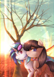 Size: 2894x4093 | Tagged: safe, artist:coma392, dj pon-3, octavia melody, vinyl scratch, chromatic aberration, female, lens flare, lesbian, looking at you, phone wallpaper, scratchtavia, shipping, smiling, sunglasses, sunlight, tree