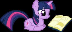 Size: 4999x2231 | Tagged: safe, artist:lman225, twilight sparkle, pony, unicorn, applebuck season, book, bookhorse, cute, female, mare, ponyloaf, prone, reading, simple background, solo, transparent background, twiabetes, vector