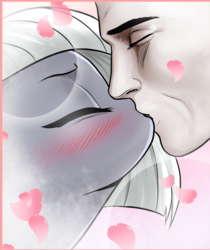 Size: 1165x1384 | Tagged: safe, artist:pencils, limestone pie, oc, oc:anon, human, pony, comic:anon's pie adventure, blushing, cropped, eyes closed, female, hat, heart, human male, interspecies, kissing, male, mare, straight
