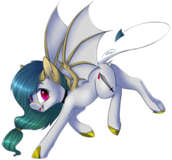 Size: 1696x1583 | Tagged: artist:doekitty, bat pony, bat pony oc, devil tail, horns, oc, oc only, oc:viper, pony, safe, simple background, solo, transparent background