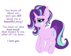 Size: 2101x1662 | Tagged: safe, artist:duop-qoub, part of a set, starlight glimmer, crying, everypony is beautiful, female, looking at you, part of a series, simple background, solo, transparent background, wavy mouth