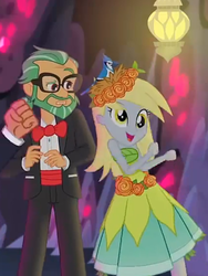 Size: 1536x2048   Tagged: safe, screencap, canter zoom, derpy hooves, timber spruce, bird, blue jay, equestria girls, legend of everfree, background human, beautiful, clothes, crystal gala, dancing, dress, duo, glasses, happy, hat, nest, offscreen character, smiling