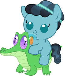 Size: 796x927 | Tagged: safe, artist:red4567, crystal hoof, gummy, thorax, changeling, crystal pony, pony, the times they are a changeling, baby, baby pony, cute, disguise, disguised changeling, pacifier, ponies riding gators, riding, weapons-grade cute