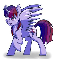 Size: 1280x1274 | Tagged: safe, artist:themechagiraffe, rainbow dash, twilight sparkle, alicorn, pony, fusion, lips, simple background, solo, white background