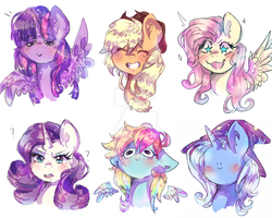 Size: 1024x819 | Tagged: safe, artist:dream--chan, applejack, fluttershy, rainbow dash, rarity, trixie, twilight sparkle, alicorn, pony, unicorn, blushing, bust, eyes closed, faic, floppy ears, grin, looking at you, portrait, question mark, sketch, smiley face, smiling, spread wings, starry eyes, twilight sparkle (alicorn), wat, wingding eyes, woll smoth