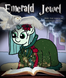 Size: 677x800 | Tagged: safe, artist:ficficponyfic, color edit, edit, edited edit, oc, oc only, oc:emerald jewel, owl, colt quest, alternate color palette, book, bow, clothes, color, colored, colt, crossdressing, cute, cyoa, door, drag queen, dress, femboy, flower, flower in hair, harry potter, logo, logo parody, male, photofunia, ribbon, shoes, solo, text, title, trap