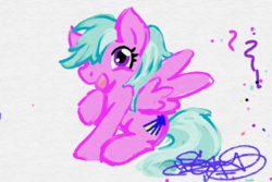 Size: 1371x914 | Tagged: safe, artist:stazik, derpibooru exclusive, oc, oc only, oc:free current, pegasus, pony, female, happy, looking at you, solo