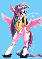 Size: 2039x2894 | Tagged: safe, artist:unousaya, twilight sparkle, alicorn, pony, bipedal, bottomless, butt wings, clothes, female, glasses, looking away, partial nudity, shoes, solo, spread legs, spreading, stockings, twilight sparkle (alicorn)
