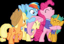 Size: 6001x4118 | Tagged: safe, artist:deratrox, applejack, fluttershy, pinkie pie, rainbow dash, snails, buckball season, .svg available, absurd resolution, cute, diasnails, group hug, hug, plot, simple background, transparent background, vector
