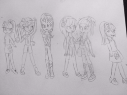Size: 1024x768 | Tagged: safe, artist:berrypunchrules, indigo zap, lemon zest, sci-twi, sour sweet, sugarcoat, sunny flare, twilight sparkle, equestria girls, shadow six, traditional art