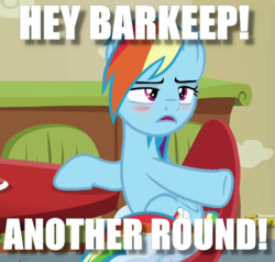 Size: 562x535 | Tagged: safe, edit, edited screencap, screencap, berry punch, berryshine, rainbow dash, flutter brutter, berry punch is not amused, blushing, drunk, drunker dash, go home you're drunk, image macro, meme, solo, unamused
