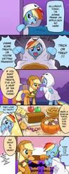 Size: 384x960 | Tagged: safe, artist:ryuu, applejack, rainbow dash, earth pony, ghost, pegasus, pony, apple, apple pie, clothes, comic, costume, cute, dashabetes, duo, duo female, english, eyes closed, female, food, freckles, ghost costume, halloween, halloween costume, holiday, japanese reading order, mare, night, nightmare night, one eye closed, open mouth, pie, right to left, translation