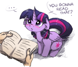 Size: 1500x1300 | Tagged: safe, artist:buttersprinkle, twilight sparkle, alicorn, human, pony, ..., adorkable, blushing, book, bookhorse, buttersprinkle is trying to murder us, cheek fluff, cute, dialogue, disembodied hand, dork, female, floppy ears, frown, looking up, offscreen character, sad, simple background, sitting, sweet dreams fuel, that pony sure does love books, twiabetes, twilight sparkle (alicorn), white background