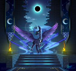 Size: 2500x2322 | Tagged: safe, artist:duskie-06, princess luna, alicorn, pony, banner, color porn, crepuscular rays, eclipse, female, fire, lightsaber, magic, mare, moon, solar eclipse, solo, spread wings, stairs, star wars, stars, telekinesis, wall, weapon
