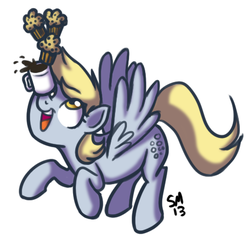 Size: 465x447   Tagged: safe, artist:serenamidori, derpy hooves, pegasus, pony, balancing, coffee, coffee mug, female, food, mare, muffin, ponies balancing stuff on their nose, simple background, solo, white background