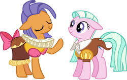 Size: 2871x1826 | Tagged: artist:ironm17, chancellor puddinghead, clothes, frying pan (character), hearth's warming eve (episode), las pegasus resident, ruff (clothing), safe, simple background, smart cookie, tender brush, transparent background, vector, winter lotus