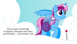 Size: 11200x6400 | Tagged: safe, artist:parclytaxel, oc, oc only, oc:parcly taxel, oc:spindle, alicorn, pony, windigo, ain't never had friends like us, albumin flask, parcly taxel in japan, .svg available, absurd resolution, alicorn oc, cloud, flying, gem, horn ring, japan, pappus graph, parcly's travel covers, saddle bag, sign, smiling, vector, windigo oc