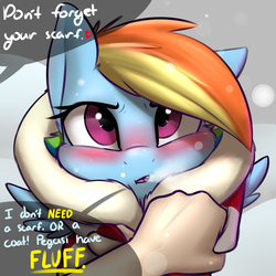 Size: 2400x2400 | Tagged: safe, artist:captainpudgemuffin, rainbow dash, human, pony, :o, blushing, breath, captainpudgemuffin is trying to murder us, clothes, coat, cute, dashabetes, embarrassed, female, fluffy, glare, heart, high res, looking at you, offscreen character, offscreen human, open mouth, scarf, snow, snowfall, speech bubble, squishy cheeks, sweet dreams fuel, tsunderainbow, tsundere