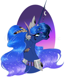 Size: 1305x1547 | Tagged: safe, artist:legally-psychotic, princess luna, horse, bust, color porn, crown, eyelashes, feather, female, horn jewelry, horn ring, horsified, jewelry, lidded eyes, looking up, modified accessory, necklace, portrait, profile, regalia, simple background, solo, transparent background, watermark