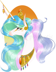 Size: 1240x1594 | Tagged: safe, artist:legally-psychotic, princess celestia, pony, bust, eyelashes, eyeshadow, female, horn jewelry, horn ring, jewelry, lidded eyes, looking up, makeup, mare, modified accessory, necklace, portrait, profile, simple background, solo, transparent background, watermark