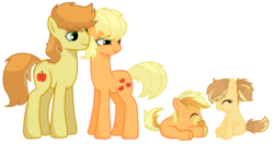 Size: 2212x1172 | Tagged: safe, artist:sapphireartemis, applejack, braeburn, oc, applecest, braejack, incest, male, offspring, parent:applejack, parent:braeburn, parents:braejack, product of incest, shipping, simple background, straight, transparent background