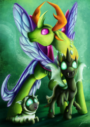 Size: 1060x1500 | Tagged: safe, artist:jamescorck, thorax, changedling, changeling, changeling larva, to where and back again, age progression, cute, fangs, fluffy, king thorax, open mouth, raised hoof, raised leg, smiling, solo, younger
