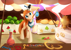 Size: 1700x1198 | Tagged: safe, artist:scootiebloom, oc, oc only, oc:silent hoofstep, bird, magpie, amulet, bandana, beads, fruit, glasses, horseshoes, jewelry, market, necklace, pet, pet oc, pretzel, raised hoof, samovar, scenery, solo, stall, vase, watermelon