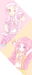 Size: 377x873 | Tagged: safe, artist:nemucure, fluttershy, pinkie pie, equestria girls, clothes, dress, solo