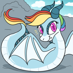 Size: 1280x1280 | Tagged: alternate universe, amphiptere, armless, artist:artist-block, artist:ask-rainbow-wyrm, ask, ask-rainbow-wyrm, dragon, pony ask blog, rainbow dash, rainbow dragon, safe, solo, species swap, tumblr, wyrm