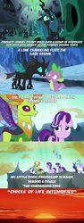 Size: 1280x3400 | Tagged: safe, edit, edited screencap, screencap, princess celestia, princess luna, queen chrysalis, shining armor, spike, starlight glimmer, thorax, changedling, changeling, changeling queen, the times they are a changeling, to where and back again, caption, circle of life, female, image macro, king thorax, meme, the lion king, x intensifies