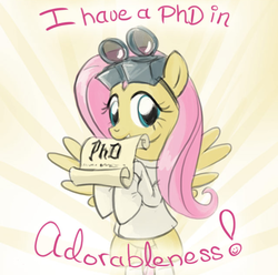Size: 640x636   Tagged: safe, artist:giantmosquito, fluttershy, pegasus, pony, ask, ask-dr-adorable, bipedal, clothes, cute, diploma, doctor, dr adorable, female, gloves, goggles, grin, lab coat, looking at you, mouth hold, phd, shyabetes, smiling, solo, spread wings, tumblr