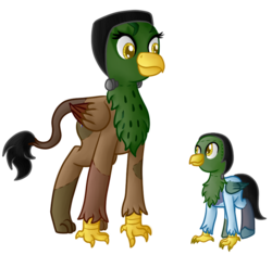 Size: 800x753   Tagged: safe, artist:rainbowfeatherreplies, artist:timid tracks, oc, oc only, classical hippogriff, griffon, hippogriff, brother and sister, clothes, colt, costume, foal, frankenstein's monster, interspecies offspring, magical lesbian spawn, male, nightmare night, offspring, parent:gilda, parent:rainbow dash, parents:gildash, simple background, transparent background