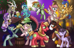 Size: 1280x828 | Tagged: safe, artist:sciggles, angel wings, big macintosh, discord, flash sentry, princess ember, starlight glimmer, trouble shoes, oc, oc:barley tender, oc:caramel malt, oc:sappho, dragon, earth pony, pegasus, pony, unicorn, apple tree, barmel, barrel, bipedal, bipedal leaning, bow, cider, ciderfest, claws, clothes, colored hooves, cutie mark, dragon wings, dragoness, drinking, eyes closed, fangs, female, floppy ears, flying, full moon, grin, hair bow, hat, hooves, horn, horns, jack-o-lantern, leaning, lidded eyes, looking at each other, male, mare, mare in the moon, moon, mug, night, night sky, open mouth, ponyville ciderfest, prone, pumpkin, sitting, sky, smiling, spread wings, stars, tankard, tree, wings