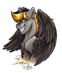 Size: 1280x1500 | Tagged: artist:alexispaint, hippogriff, oc, oc:digital import, oc only, safe, smiling, solo