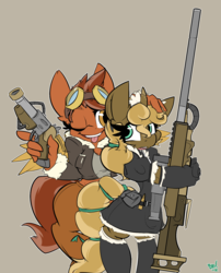 Size: 1245x1542 | Tagged: safe, artist:bbsartboutique, oc, oc only, oc:cirrus mist, oc:lead lace, earth pony, unicorn, anthro, unguligrade anthro, clockwork, clothes, crossdressing, female, femboy, girly, gun, handgun, hooves, horn, maid, male, mare, open mouth, optical sight, pistol, ribbon, rifle, simple background, sniper, sniper rifle, steampunk, teeth, tomboy, tongue out, weapon
