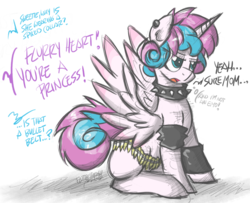 Size: 1000x813 | Tagged: alicorn, artist:flutterthrash, bullet belt, choker, dialogue, ear piercing, edgy, female, implied princess cadance, implied shining armor, it's a phase, mare, offscreen character, older, piercing, pony, princess emo heart, princess flurry heart, punk, rebellious teen, safe, simple background, solo, spiked choker, spread wings, white background