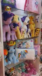 Size: 533x960 | Tagged: safe, artist:erikisaac, photographer:erikisaac, applejack, fluttershy, pinkie pie, rainbow dash, rarity, twilight sparkle, alicorn, pony, bag, irl, malaysia, mane six, my little pony logo, photo, pillow, plushie, twilight sparkle (alicorn)
