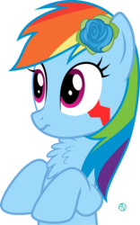 Size: 1800x2881 | Tagged: safe, artist:arifproject, rainbow dash, monster pony, original species, tatzlpony, arif's wide eyes pone, chest fluff, confused, flower, flower in hair, rose, simple background, solo, tatzldash, transparent background, vector, wide eyes