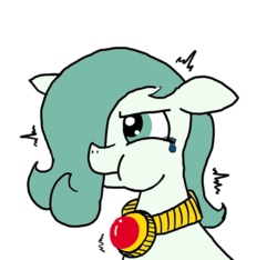 Size: 640x600   Tagged: safe, artist:ficficponyfic, color edit, edit, oc, oc only, oc:emerald jewel, earth pony, pony, colt quest, amulet, angry, child, color, colored, colt, crying, femboy, floppy ears, foal, hair over one eye, holding breath, male, shaking, solo, upset