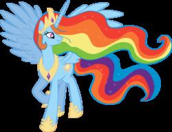 Size: 1024x782   Tagged: safe, artist:blah23z, princess celestia, rainbow dash, alicorn, pony, female, mare, palette swap, race swap, rainbowcorn, raised hoof, recolor, simple background, smiling, solo, transparent background, vector