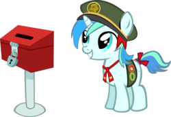 Size: 13458x9286 | Tagged: safe, artist:cyanlightning, oc, oc only, oc:cyan lightning, just for sidekicks, .svg available, absurd resolution, cap, colt, cute, cyan's filly guides, donation box, filly guides, hat, male, ocbetes, ribbon, simple background, solo, transparent background, vector