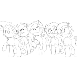 Size: 2000x1666   Tagged: safe, artist:vanillaghosties, apple bloom, babs seed, diamond tiara, scootaloo, sweetie belle, earth pony, pony, unicorn, cutie mark crusaders, female, filly, grayscale, grin, jumping, looking back, missing accessory, monochrome, raised hoof, sketch, smiling, standing, talking