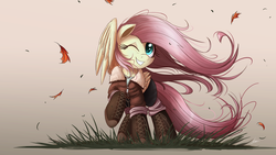 Size: 2000x1125 | Tagged: safe, artist:ncmares, fluttershy, pegasus, pony, boots, clothes, cute, female, hoof boots, jacket, mare, one eye closed, pants, raised hoof, shyabetes, signature, smiling, solo, wind, windswept mane