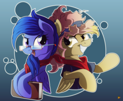 Size: 3000x2452 | Tagged: safe, artist:ruhisu, oc, oc only, oc:forgetmenot, oc:hazel heart, pegasus, pony, 80s hair, book, clothes, female, friends, glasses, invisible guitar, nerd, scarf, shirt, smiling, t-shirt