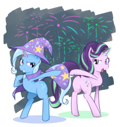 Size: 3547x3756 | Tagged: safe, artist:akainu_pony, starlight glimmer, trixie, pony, unicorn, bipedal, female, fireworks, lesbian, looking at each other, looking back, magic, mare, open mouth, pixiv, plot, shipping, smiling, startrix, trixie's cape, trixie's hat