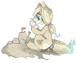 Size: 3280x2680 | Tagged: safe, artist:tamyarts, oc, oc only, original species, oyster, pearl, sand pony, sandcastle, solo