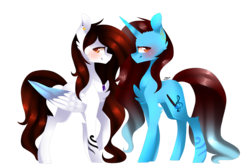 Size: 3600x2400 | Tagged: safe, artist:huirou, oc, oc only, oc:dess, oc:lau, pegasus, pony, unicorn, simple background, transparent background