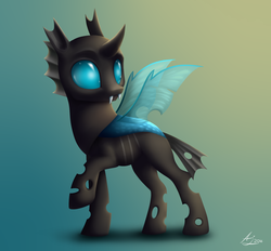 Size: 1400x1300 | Tagged: safe, artist:luminousdazzle, thorax, changeling, cute, cuteling, raised hoof, solo, thorabetes